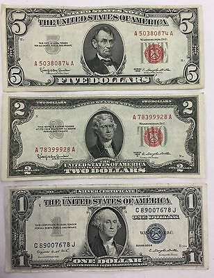 Lot of (3) $5 & $2 Legal Tender Red Seal & $1 Silver Certificate PM-18