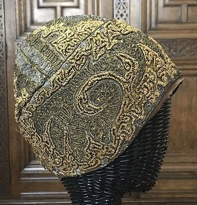 Fab! Antique * Art Deco Gold Bronze Silver Coiled Threads Flapper Cloche Hat