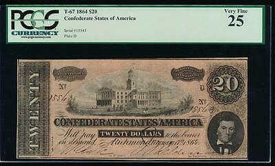 AC T-67 $20 1864 Confederate Currency CSA PCGS 25