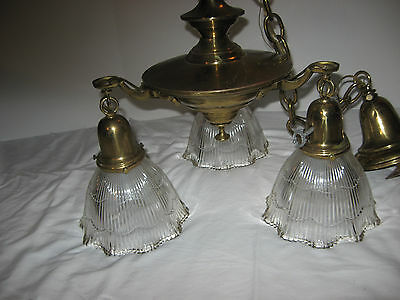Vtg Art Deco Era Victorian Brass Pan Light Chandelier 3 Arm Ceiling Fixture
