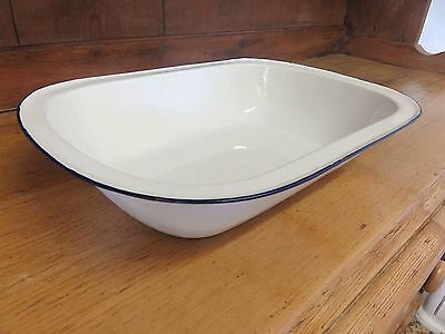 Superb Early Victorian Country Enamelled Baking Cooking Tray, Dish, Bowl