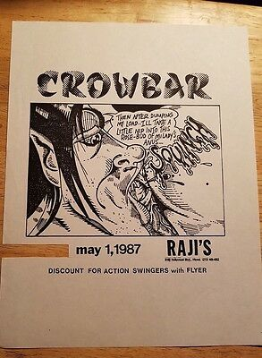 Punk Rock Concert Flyer 1980'S Crowbar. Raji's Hollywood
