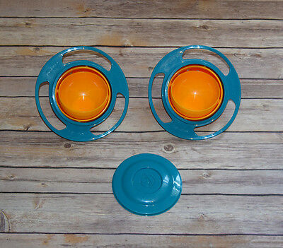 Lot 2 Gyro Bowls 1 Lid Spill Proof Snack Container Storage Travel Car Road Trip