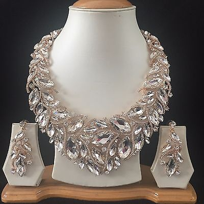 Clear Gold Costume Jewellery Necklace Earrings Diamond Crystal Set Bridal New