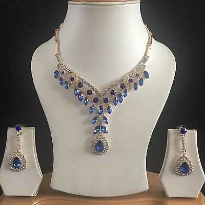 Blue Gold Indian Costume Jewellery Necklace Earrings Crystal Diamond Set New 32