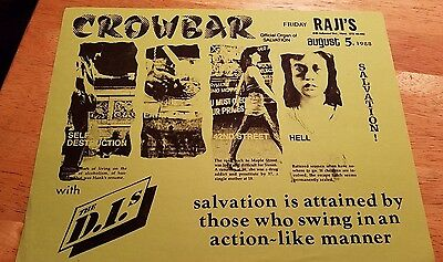 Punk Rock Concert Flyer 1988 Crowbar Salvation/ The D.i.'s Raji's Hollywood