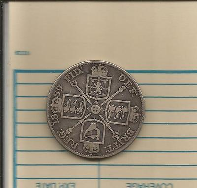 LARGE Double Florin 1889. Queen Victoria. .925 SILVER.!!! 4 shillings.