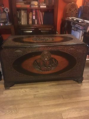 Antique Asian-Style Ornately Decorated Chest - WOW!