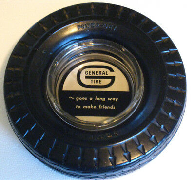 """Vintage GENERAL Tire Advertising Ashtray - Glass Insert w/Rubber 6"""" Tire Ad"""