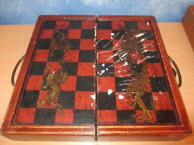 Vintage Folding Chess Board Case Beautiful Paper Inlay & Dragons Brass handle