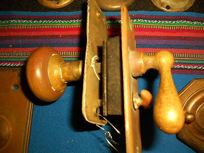 COMPLETE ANTIQUE BRASS MORTISE LOCK SET with PRIVACY THUMB TURN KEY!