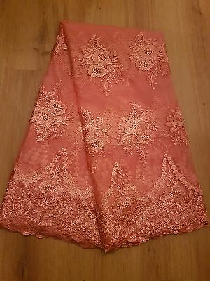 Tulle African French Lace 5 yards - Peach
