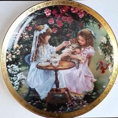 Tea For Three by Sandra Kuck Enchanted Gardens Plate Collection