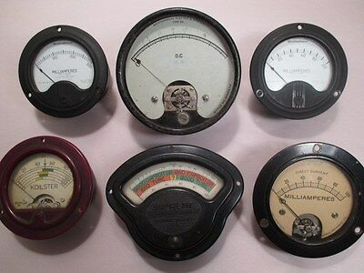 Lot of 6 Vintage Used Electrical Meters - Westinghouse, Hickok, Jewel Electrical