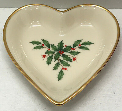 Lenox Holiday Heart Jewelry Dish Christmas Ceramic Plate NEW in Box 5""