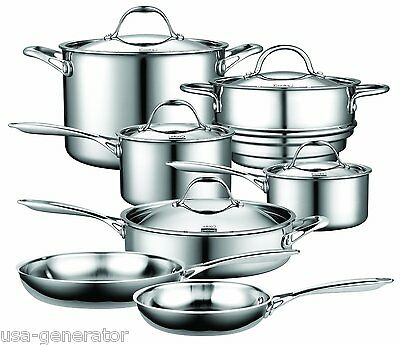 Induction Cookware Set 12 Piece Stainless Steel Multi-Ply Stay Cool Cooking NEW