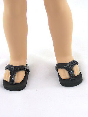 """Black Flip Flop Sandals Fits Wellie Wishers 14.5"""" American Girl Clothes Shoes"""