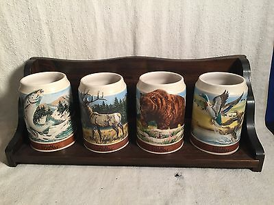 Vintage 1988 Budweiser WILDLIFE SERIES Field Stream SET OF 4 Mugs STEINS +  RACK