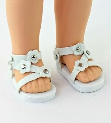 """White Flower Sandals Fits Wellie Wishers 14.5"""" American Girl Clothes Shoes"""