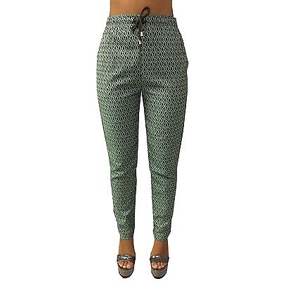 LE'S women'S trousers mod PANAREA with pockets, green/mud Made in Italy