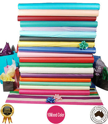 Colored Tissue Paper 100 Sheets  MIXED COLORS  21GSM Various Sizes- A Grade