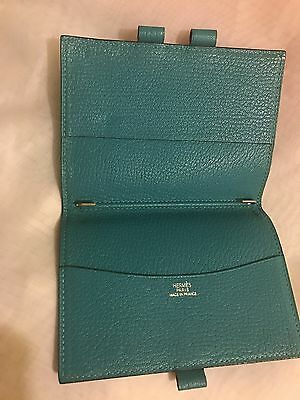 Auth Hermes Epsom Chevre leather Lagon Agenda Notebook Cover