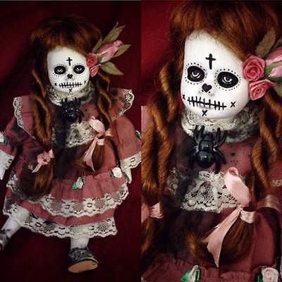 Day of the Dead Smaller Sitting Girl Creepy Horror Doll by Christie Creepydolls