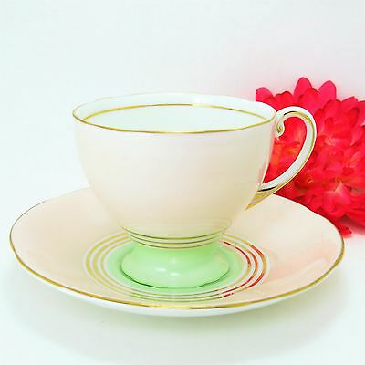 Royal Standard Footed English Bone China Tea Cup and Saucer Set Pale Green/Cream