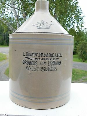 Rare Advertising Stoneware Whiskey Jug Crock L.chaput Grocers Liquors Montreal