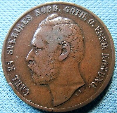 1861 Sweden 5 Öre 5 Ore King Carl XV  Old Coin - Reverse Lamination Mint Errors
