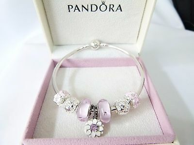 AUTHENTIC PANDORA CZ Star Bangle with Authentic Flower & Shell beads