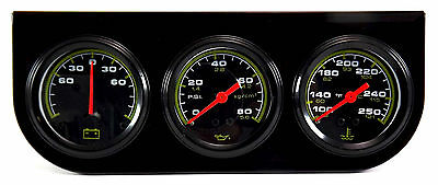 Triple Gauge 52mm in Water Temperature, Oil Pressure and Ammeter with Panel
