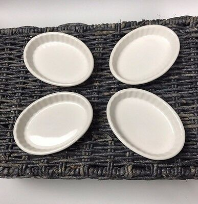 Lot Set Of 4 Tuxton BWK-0502 China Oval Fluted Creme Brulee Dish, 5oz