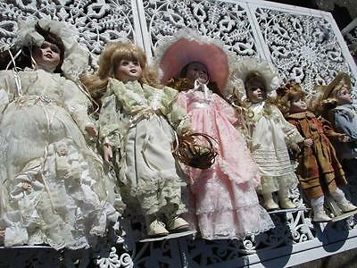 "BULK LOT of 6 Old PORCELAIN DOLLS in Original Lace Dress Display Items 18"" GC"