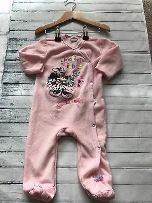 Baby Girls Clothes 6-9 Months- Pretty Fleece Disney Babygrow Sleepsuit