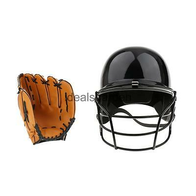 Durable Batting Helmet with Mask + Left Hand Baseball Glove 10.5""