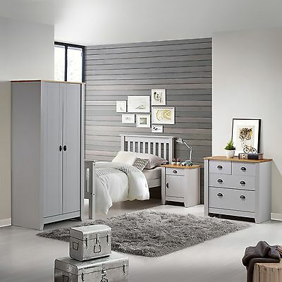 Ludlow Grey Oak colour Bedside 3 4 Chest of Drawers or Wardrobe Solid Pine Tops