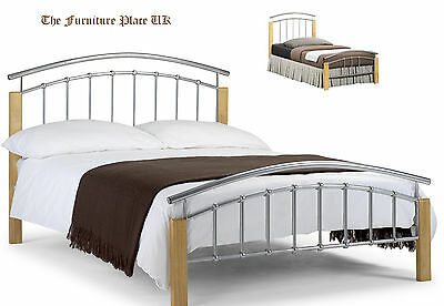 Aztec Oak And Aluminium Bed Frame - Single Small Double and Double