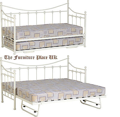 Torino Cream Guest Bed Single Metal Day Bed With Option Of Trundle.