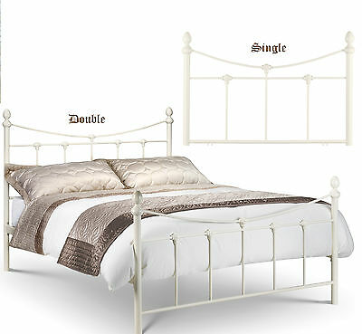 Rebecca Metal Bed Frame In Cream Ivory Single OR Double OR Kingsize