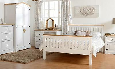 Corona Waxed Pine and White Drawer Chest Bedside Wardrobe Dresser Stool