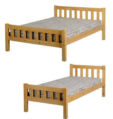 Carlow Bed 3FT Single OR 4ft 6 Double Antique Pine High Foot End