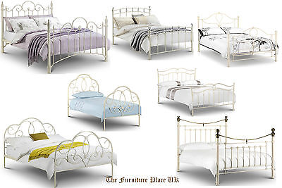 Vintage Shabby Chic Style Metal Bed Frame Stone Cream - Single Double Kingsize
