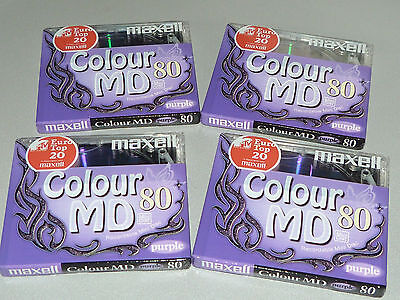 "4 Maxell Minidisc Colour MD80 - Europa Twinkel - Butterfly - ""New and sealed"""