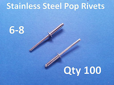 """100 POP RIVETS STAINLESS STEEL BLIND DOME 6-8 4.8mm x 17.2mm 3/16"""""""