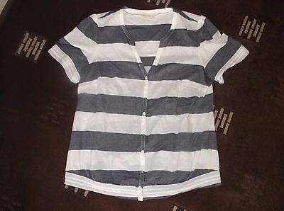 ladies lovely Blue & White FAT FACE  top /  blouse     size 12   VGC
