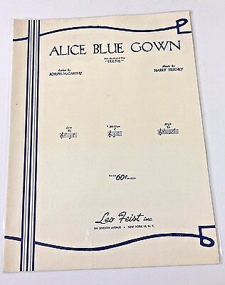 ALICE BLUE GOWN Sheet Music Vintage 1919 From Musical Irene Key Of C ...