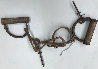 Rare Antique Hand Forged 1700's -1800's Slave Shackles, Hand Cuffs w/ Keys-2056