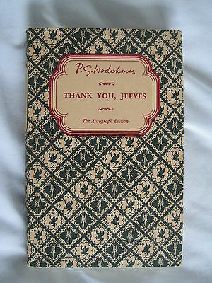 P G Wodehouse: Thank You, Jeeves : Autograph Edition 1956- Ex - Free Post
