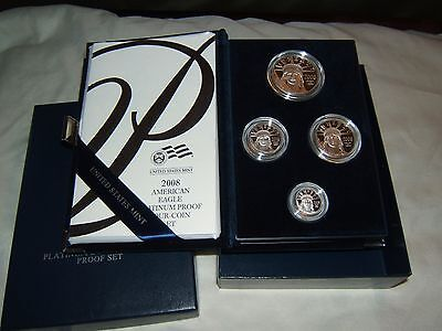 2008 W 4 coin proof Platinum Eagle set with US Mint packaging and COA - key date